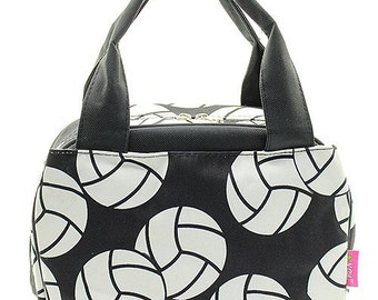 Personalized Volleyball Print Lunch Tote * Embroidered Lunch Bag with Monogram or Name * Monogrammed Insulated Lunch Totes