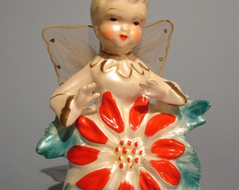 Vintage Porcelain Poinsettia Christmas Angel Figurine - with net wings!