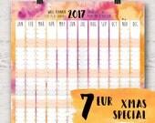 2017 Wall Calendar, A2 Poster, Wall art, Watercolor Wall Planner, Office Planner, Poster Calendar