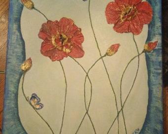 3D. Handmade painting. Blue Butterflies.