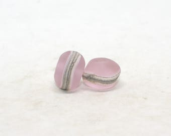 Set of 2 Etched Free Form Beads - 9 mm x 13 mm - Pink Quartz Ivory - Organic Matte Donut Beads - Handmade Lampwork Glass Beads