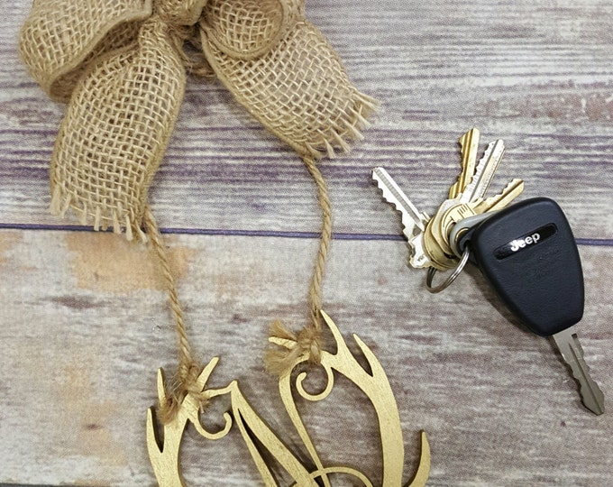 """Car Charm - Car Initials - Rear View Mirror Monogram - 4.5"""" Painted Initial with Burlap Bow"""