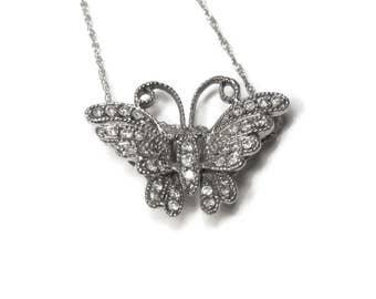 Vintage 10K White Gold Diamond Butterfly Pendant Necklace