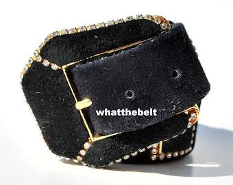 Vintage Belt Black Leather Suede Rhinestone Buckle Wide Belt by St. Maarten Small