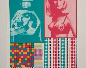 Mid Century Modern Pop Art Screen Print Serigraph Limited Edition Sir Eduardo Paolozzi Moonstrip Empire News OOAK Andy Warhol Modern Art