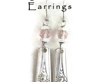 Silverware Earrings, Spoon Handle Earrings with Stainless Steel Ear Wires & Pink Crystal Silver Spoon Jewelry Memory Silver Plate