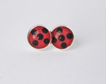 Ladybug Earrings Ladybug Spots Silver Stud Earrings Superhero Girl Ladybug Cat Noir Miraculous Ladybug Marinette Dupain Cheng Adrien Agreste