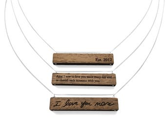 5th Anniversary Gift for Her / Anniversary Gift for Girlfriend / Custom Engraved Wood Necklaces / Personalized with Handwriting, Quote, Date