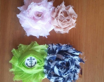 Ruffle Flower Hair Bow Clips - Pink, Tan and Gold - Blue Striped Bow with a Green Bow and Navy Medallion