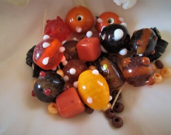 DESTASH** 2 oz  lot of Lamp work Ceramic & Fimo Clay l Beads