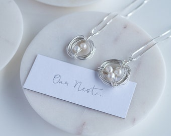 Pearl 'Our Nest' Necklace, Nest Mother's Day Necklace, Personalized Pearl Nest, Personalised Necklace