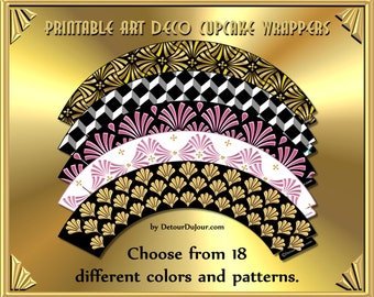 1/2 OFF COUPON Code - Art Deco Black and Gold Cupcake Wrappers (ADC-013), Art Deco Party Supply, Metallic Art Deco