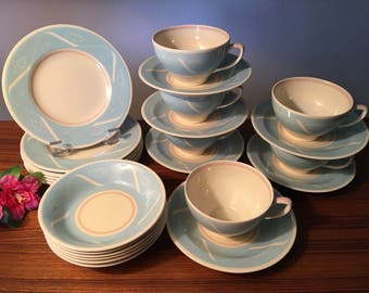 Rare 24-piece Susie Cooper Production Crown Works Burslem England dishes - small plates, bowls cups and saucers