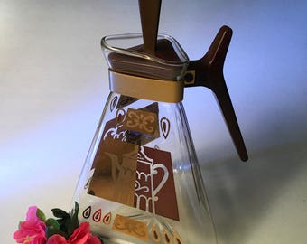 Vintage Inland Glass triangular coffee pot carafe with amazing retro gold graphics