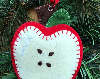 Red Apple Wool Felt Ornament