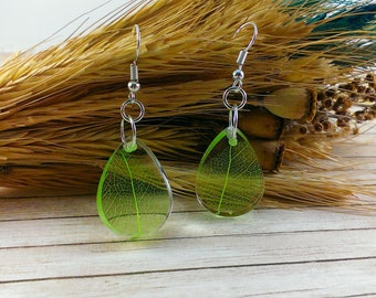 Earrings drops Crystal earrings Drop earrings Leaf earrings Lime green leaves earrings Womens gift For girl Tiny earrings Nature jewery