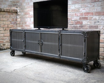 Media Console Cabinet Cart | Modern Industrial Casters | Riveted TV Cabinet  | Mobile Entertainment Center