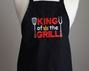 Chef apron, cook apron, grandpa apron,father apron,husband apron,male apron, cooks apron,apron for him, gift for him, king of the gril apron