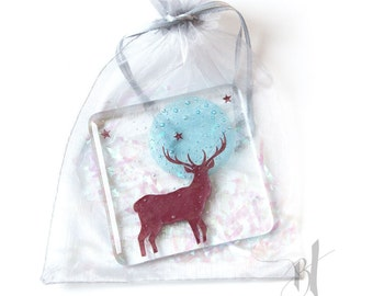 Full moon Stag Fused Glass Coaster, stag of the north, winter stag, starlight, nature lover, british countryside