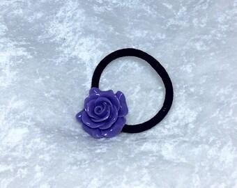 Purple Rose Pony Tail Holder, Hair Elastic, Hair Tie