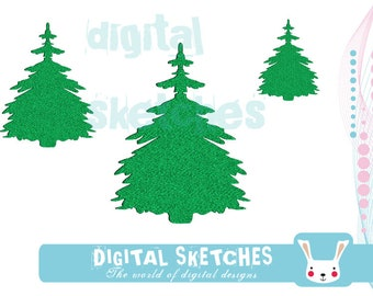 Tree Fir Machine Embroidery Design 3 Sizes