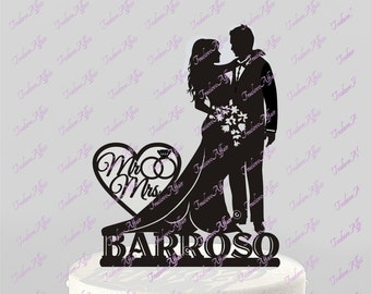 Wedding Cake Topper Silhouette Bride and Groom with Last Name Acrylic Cake Topper [CT66n]