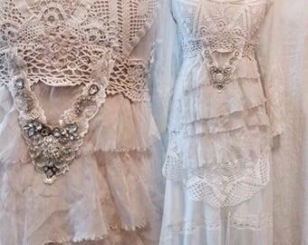 Boho wedding dress pagan bride ,unique Bridal gown,lace statement wedding dress,handmade wedding dress,fantasy fairytale dress,bridal