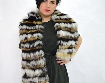 Real fox fur shawl, wrap fur collar, fur scarf, genuine fox fur infinity scarf pelt, black mink fur shawl, real fur neck warmer. Fur stole.