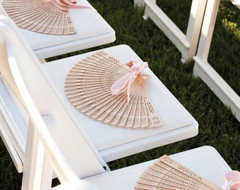 30 pcs Hollowed-out Wood Folding Hand Fans - Wedding Gifts Favor, Decor, Bridal Bridemaids, Dancing - Chinese Carved