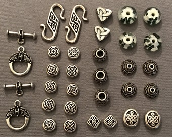 31-Piece Irish / Celtic Knot TierraCast Antique Rhodium Jewelry Supplies