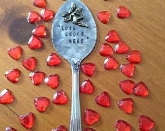 Garden Marker Spoon, Love Grows Here, 4th One Free, Herb Marker, Stamped Spoon,
