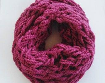 Arm Knit Infinity Scarf in Raspberry