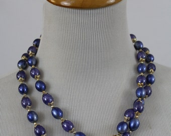 """Vintage Purple Blue Hard Plastic Beaded Double 19"""" Necklace Made in Hong Kong Moonglow"""