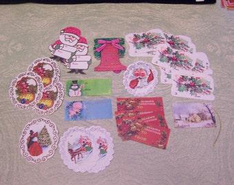 Twenty-six 26 sparkly vintage Christmas gift tags Santa holly angel snowman bells tree ornaments