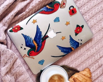 TATTOO SWALLOWS MACBOOK, Macbook Air 13 case, Macbook Pro 13 Retina case, Macbook A1706 case, Macbook Pro 13 case, Macbook Pro Retina case