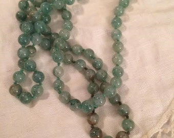 Vintage Hand Knotted Green Aventurine Bead Necklace