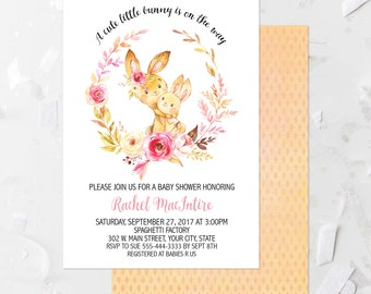 Bunny Baby Shower Invitation Printable Floral Woodland Baby Shower Invite  Woodland Animal Baby Shower Sip And