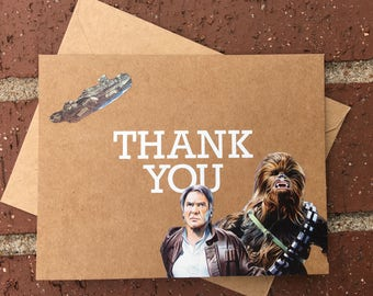 Star Wars - Han Solo and Chewbacca Thank You Card Comic Book Greeting Card (Blank)