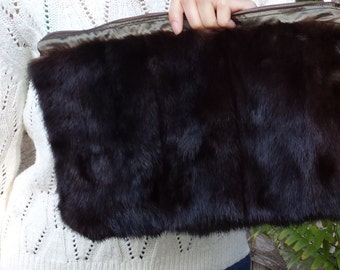 New handmade brown sectional mink bag, clutch, hadbag, real fur, recycled mink, small, zipper, unique, 12'