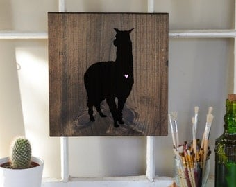 Hand painted Silhouette with Heart - Alpaca or Llama