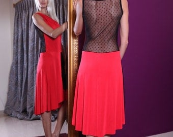 Red Tango Dress with Tulle | Argentine Tango Dress | Handmade Tango Clothes