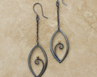 Blackened Silver and 18K Gold Forged Filigree Leaf Earrings, Silver Filigree Earrings, Blackened Silver and Gold Filigree