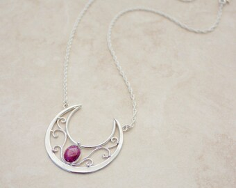 Breathtaking OOAK Star Ruby Lunula Necklace, Moon Goddess Necklace, Goddess Jewelry, Moon Priestess Necklace