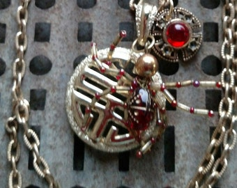 Spider Woman-Gold Necklace, Re-Purposed