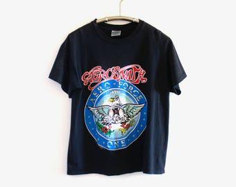 1989 True Vintage Black Aerosmith 'Aero-Force One' T-Shirt Large