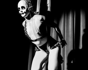 Hollow Eyes, Aerial, Aerialist, Silks, Tissue, Circus, Performance, Giclée Print, Archival, Photograph, Black and White, Glossy