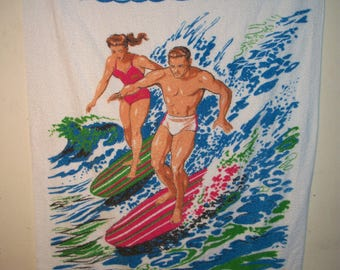 Amazing 1960's Surf Beach Towel,Incredible Shape,Made In USA By Terry Originals, Bright White,Cool Graphics,Have The Coolest Towel On Beach!