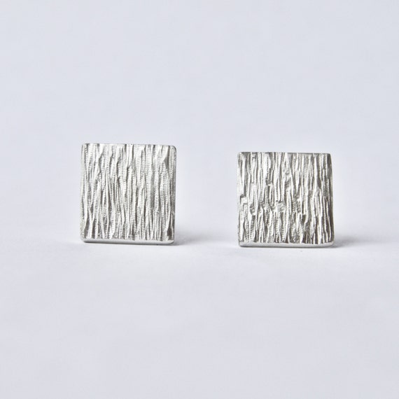Silver Cufflinks with Tree Bark Texture - Recycled Sterling Silver - Hammered Stripe Square Cufflinks