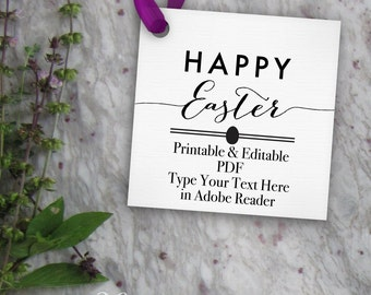 Gift tags pictures invitations for digital by revintagedart happy easter tags printable easter tag editable template diy digital pdf negle