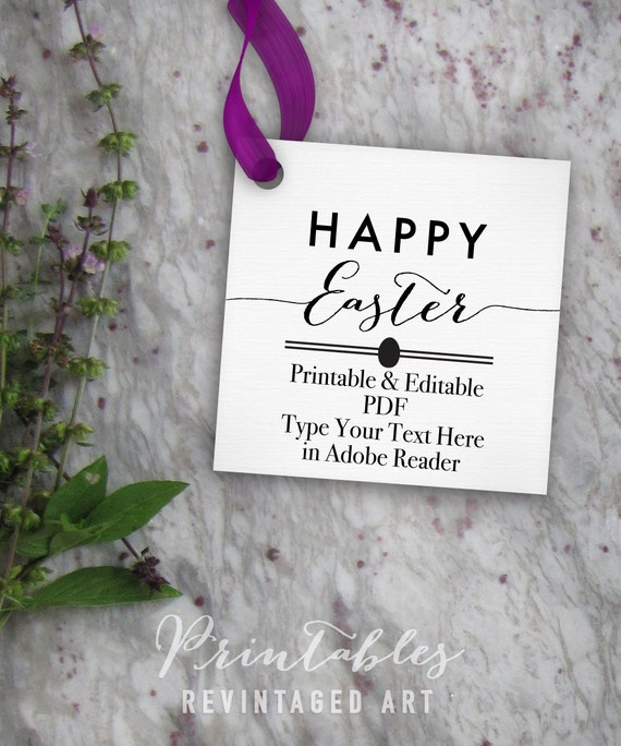 Happy easter tags printable easter tag editable template happy easter tags printable easter tag editable template diy digital pdf 2 inch square custom 2x2 favor tag treat bag tag gift tag negle Image collections